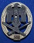 A SUPERB NEAR MINT EXAMPLE OF THE VERY RARE ARMY / WAFFEN SS GENERAL ASSAULT BADGE FOR 50 ENGAGEMENT