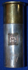 HERMANN GORING 800 SILVER NOVELTY SPIRIT FLASK MODELED A LARGE GUN CARTRIDGE.