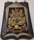 BRITISH VICTORIAN ROYAL ARTILLERY OFFICERS SABRETACHE COMPLETE WITH LEATHER COVER.