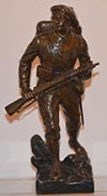 WW1 BRONZE FIGURE OF A SOLDIER BY EMILE CARLIA.