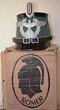 MINT UNISSUED THIRD REICH POLICE SHAKO WITH ORIGINAL MAKER MARKED BOX.