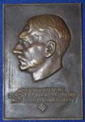 HITLER BRONZE PLAQUE.