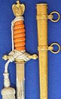 THIRD REICH NAVAL OFFICERS DAGGER BY ALCOSO WITH ORANGE GRIP, HAMMERED SCABBARD & SAILING SHIP BLADE