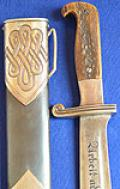 RAD MANS DAGGER, VERY RARE EARLY EICKHORN VARIATION WITH FULL STAGHORN GRIP.