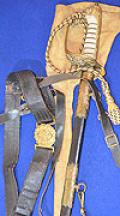 BRITISH WW1 NAVAL OFFICERS SWORD SET, COMPRISING SWORD, BELT, HANGERS AND ISSUE BAG.