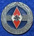 RARE HJ BADGE OF THE GERMAN YOUTH CHAMPION 1944 IN SILVER.