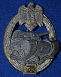 ARMY /  WAFFEN SS TANK BATTLE BATTLE BADGE FOR 50 ENGAGEMENTS.
